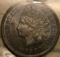 1907 USA INDIAN HEAD SMALL CENT PENNY - ICCS MS-63 Uncirculated