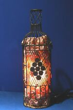 HIMALAYAN SALT LAMP ~ HAND CRAFTED ~ RUSTIC METAL WIRE WINE BOTTLE FRAME