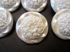 "1 1/8"" Beautiful Vintage Inspired Domed ROUND Buttons (6 pc) -PEARLIZED  IVORY"