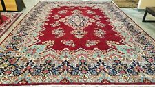 12'X16 Antique Cr1920 Hand-Knotted Medallion Red Carpet Vintage Wool Traditional
