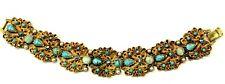 Florenza Turquoise Bracelet Art Glass Cabochon AB Rhinestone Bracelet