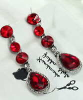 1 Pair Elegant Red Crystal Rhinestone  Ear Drop Dangle Stud long Earrings 173