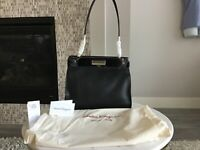 $2950 NEW Salvatore Farragamo black leather studio bag medium NWT Silver HW