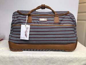 Jessica Simpson Rolling Duffel Bag Travel Suitcase Luggage Red Blue Stripe White