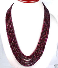 GENUINE TOP BEAUTIFUL 5 STRAND 2X4MM FACETED RED RUBY GEMSTONE BEADS NECKLACE