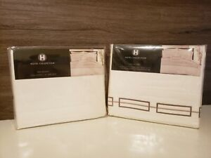 Hotel Collection King Flat Sheet & Matching Bed Skirt White Linear Embroider 600