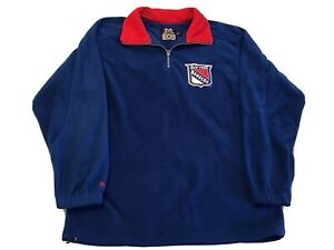 New York Rangers Pullover 1/4 Zip Fleece Official NHL Great Condition Size Large