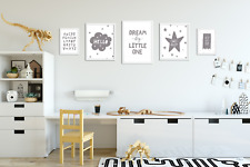 Set of 5 Grey Nursery Prints / Pictures for Baby Room / Playroom / Bedroom