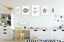 Lot de 5 Gris Nursery Imprime/photos pour chambre de bébé/salle de jeux/chambre à coucher