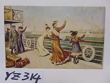VINTAGE POSTED POSTCARD STAMP 1909 GOING ABROAD BOAT DECK W/PEOPLE RARE SHIP