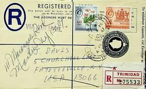 TRINIDAD & TOBAGO 1967 COAT OF ARMS FLOWER 2v ON REDIRECTED REGD LETTER