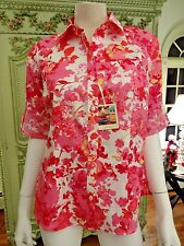 VAN HEUSEN  BLOUSE, S/P, NWT, $62.00 ,FLORAL , PINKS & REDS, CAREER, POCKETS,