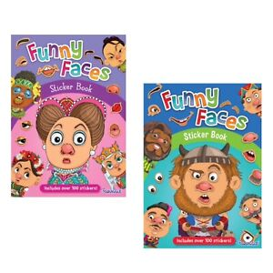 2 x Funny Faces Children's Sticker Books Children's Activity Book Kids Stickers