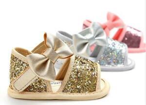 Newborn Baby Girl Crib Shoe Infant Princess Glittering Summer Sandals Dress Shoe
