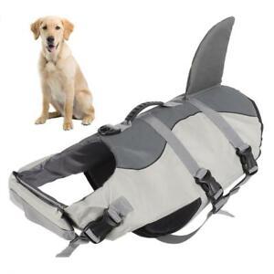 Pet Dog Swiming Life Jacket Aquatic Reflective Float Vest Shark Design S-L