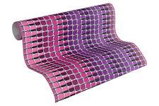 Vliestapete Retro 3D Mosaik Streifen pink lila Design by Mac Stopa 32727-3