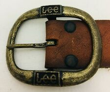 "Vintage Lee Jeans 30"" leather belt with brass buckle Stamped Lee 1119"