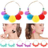 Fashion Boho Pom Ball Tassel Long Ear Stud Dangle Drop Earring Women Jewelry