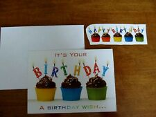 NEW Birthday Greeting Card w Candles on Chocolate Frosted Cupcakes +Free Sticker