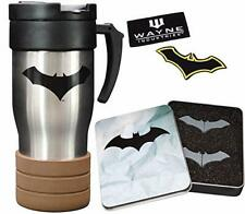 Batman Batarang Push Pin, Emblem Patches & Grenade Travel Mug Premium 3-Pack Set