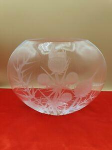 Vase Boule christal décors chardons signé Gronowski Annecy 07, L 27  H 23