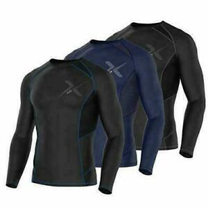 Mens Compression Armour Base Layer Top Long Sleeve Thermal Gym Sports Shirt FDX