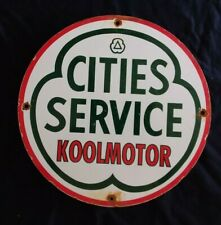 VINTAGE CITIES SERVICES KOOLMOTOR GASOLINE / MOTOR OIL PORCELAIN GAS PUMP SIGN