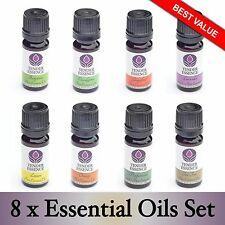 8 Set of Essential Oils UK Popular aromatherapy kit 100% Pure Oil 10ml