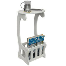 Side / End / Bedside Table with Magazine / Book Storage Rack - White OC1618