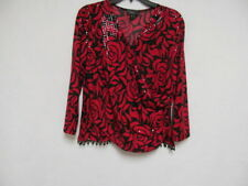 Collection Dress Barn Woman`s sequence beading red/black long sleeve Blouse, L
