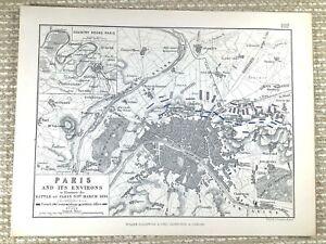 1855 Antique Military Map of The Battle of Paris City Plan 1814 Revolution War