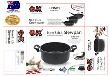 Induction MARBLE/Blue STONE coated cooking Stock Casseroles Stew Pot & Lid 4.2 L
