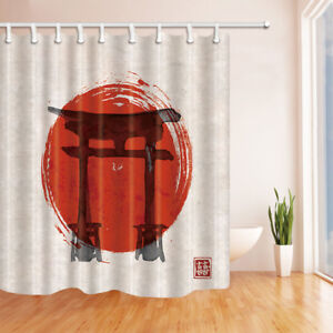 Japan Torii Gates And red Rising Sun Bathroom Shower Curtain Fabric w/12 Hooks