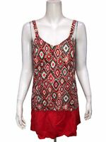 Denim & Co. Women's Beach Hi-Low Tankini Swimsuit with Skirt Coral Ikat Size 24W