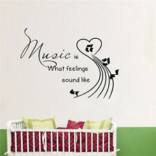 MUSIC IS WHAT FEELINGS SOUND LIKE Wall Decal Words Quote Lettering Room Decor