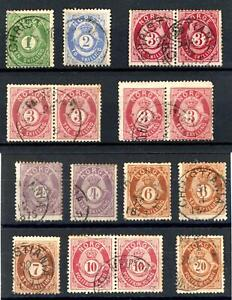 Norway 1872-77 Selection of 16 used stamps, total Cat £700+