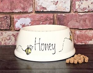 Extra small slanted dog bowl cat bowl hand painted personalised ceramic bee bowl