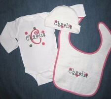 Personalized Baby Boy or Girl HAT BIB & CREEPER Romper One Piece Outfit GIFT SET