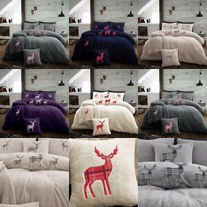 NEW CHRISTMAS TEDDY STAG Fleece Duvet Cover Quilt Cover Thermal Warm All Sizes