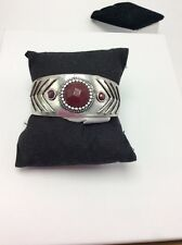 $45 Lucky Brand Silver Tone Cuff Bracelet With Red Jade Stone 826a