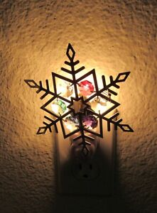 Night Light- SNOWFLAKE silver plated -Spectra Crystals -purple blue pink red