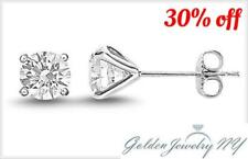 14K Solid White Gold Round CZ Stud Earrings sizes:1.5-10mm Top Quality! FREE BOX