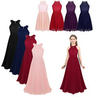 Girls Formal Long Dress Kids Floral Lace Wedding Bridesmaid Party Prom Gown Maxi