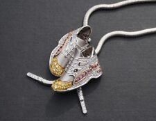 18kt White Gold Sneaker Shoe White & Yellow Diamond Necklace Pendant, London