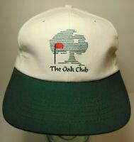 Vintage 1990s The Oak Club Golf Course Green White Golf Adjustable Hat Cap USA