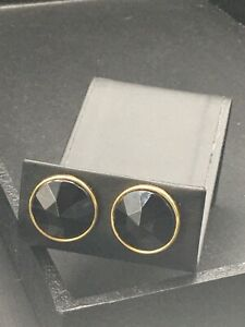 Avon Jewelry, pierced earrings gold tone circle with faceted black CTR NOS  E29