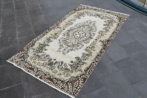 Turkish Vintage Hand Knotted Oriental  Oushak Anatolian Wool Area Rug 3.8 x 7 ft
