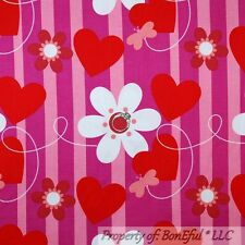 BonEful Fabric FQ Cotton Pink Red White Purple Heart Flower Stripe Dot Butterfly