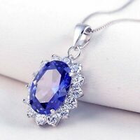 """6.40CT Oval Sapphire & Diamond 14K White Gold Finish Halo Pendant with 18"""" Chain"""