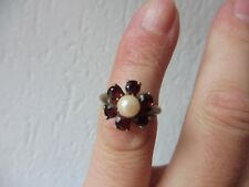 Beautiful, Old Ring ___ 835 Silver Gold Plated, with Pearl and Polished Garnet